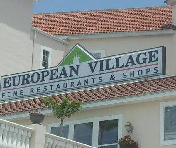 European Village Sign Lighting Ceremony